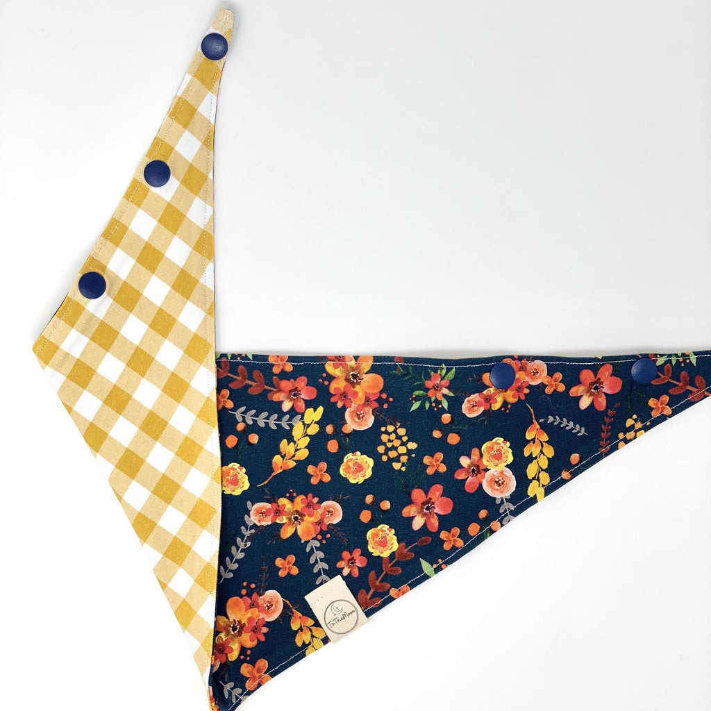 Fall Floral Reversible Snap Bandana