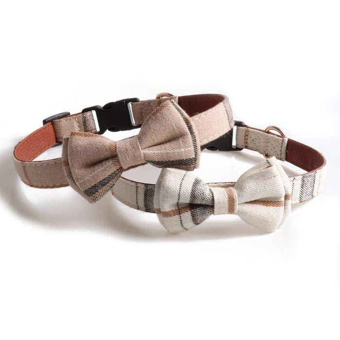 Plaid Dog Collar with Removable Bowtie - Hunter & June