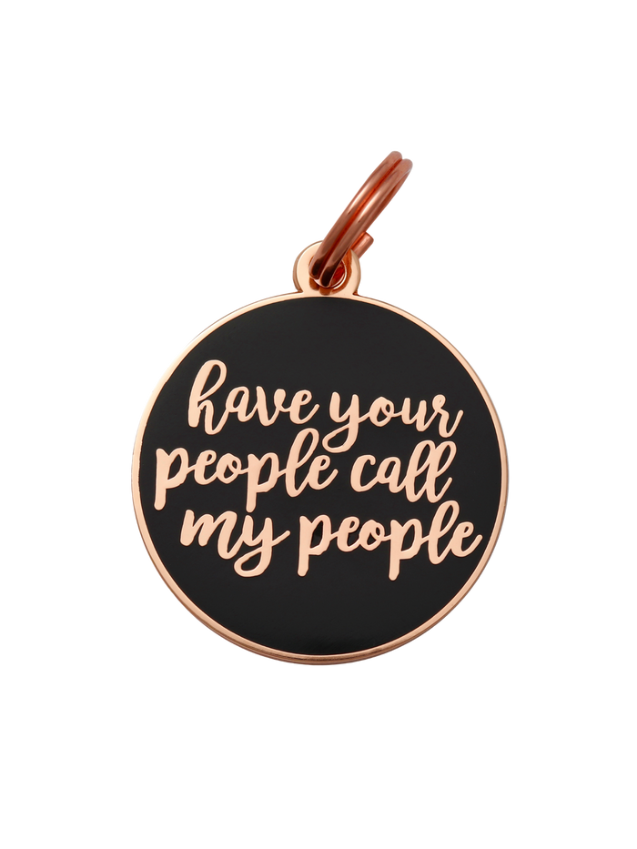 Have Your People Call My People Charm/ID Tag Navy & Rose Gold
