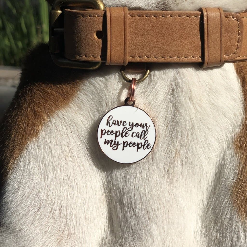 Have Your People Call My People Charm/ID Tag White & Rose Gold