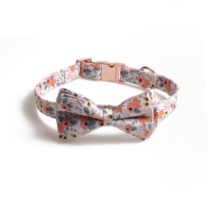 Floral Fabric Dog Collar with Removable Bowtie - Hunter & June