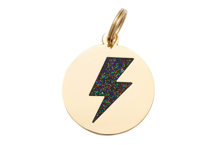 Lighting Bolt Charm/ID Tag Black & Gold
