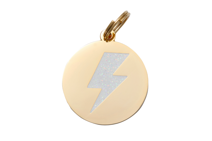 Lightning Bolt Charm/ID Tag White & Gold - Hunter & June