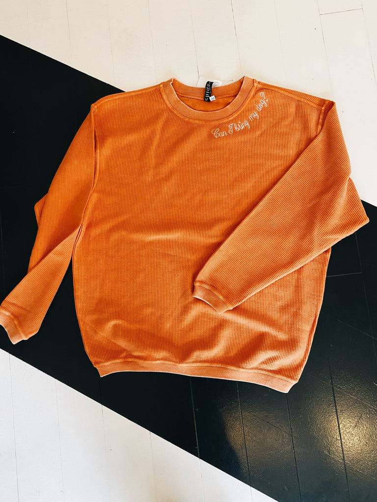 Can I Bring My Dog Embroidered Oversized Pullover - Orange