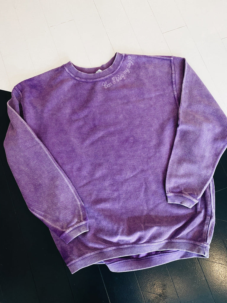Can I Bring My Dog Embroidered Oversized Pullover - Purple