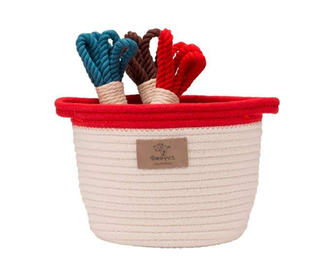 Rope Toy Basket with Red Trim