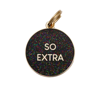 So Extra Charm/ID Tag Black Glitter