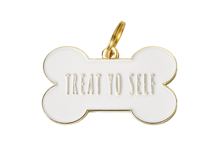 Treat Yo Self Enamel Charm/ID Tag White
