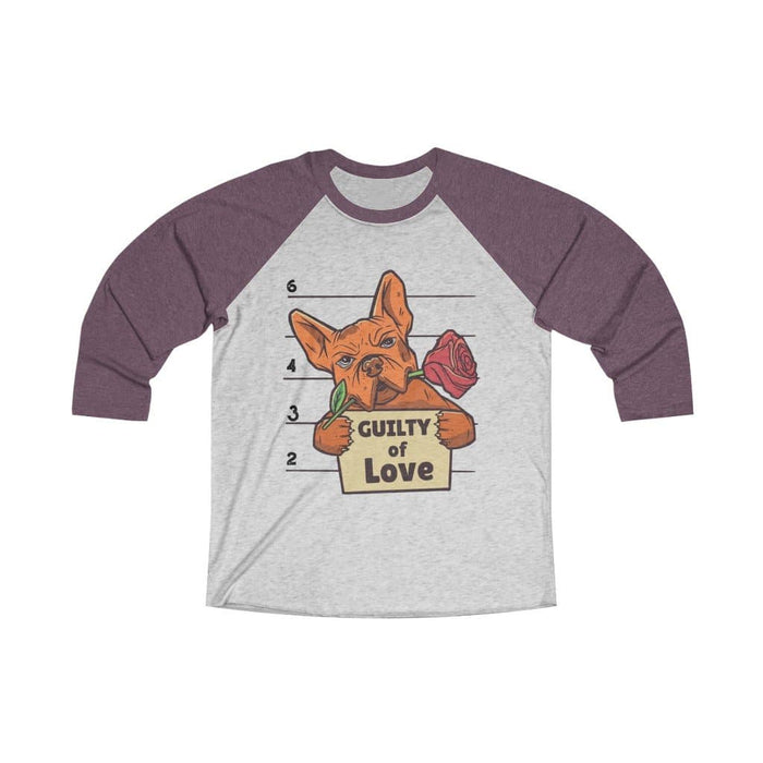 Bulldog Guilty of Love Unisex 3/4 Baseball Tee - Hunter & June