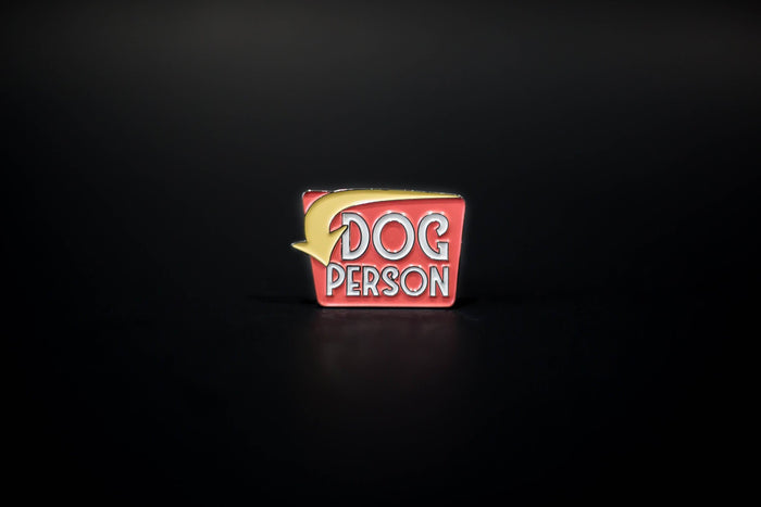 Retro Dog Person Pin