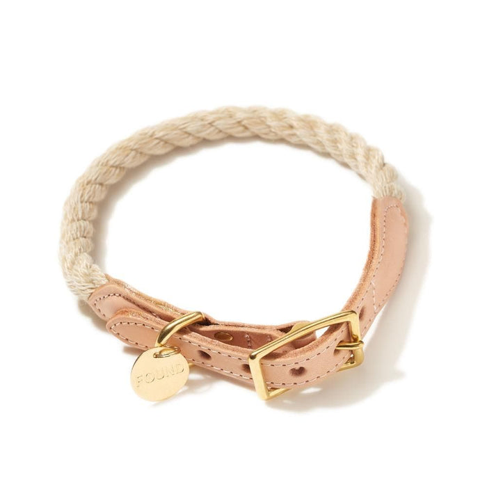 Light Tan Cotton Rope and Leather Collar