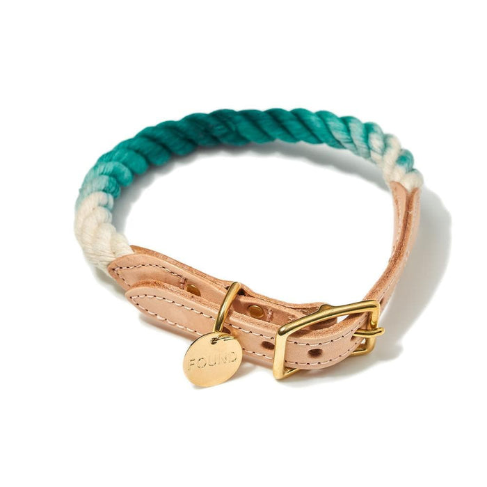 Teal Ombre Cotton Rope and Leather Collar