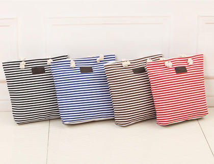 Striped Zipper Shoulder Bag