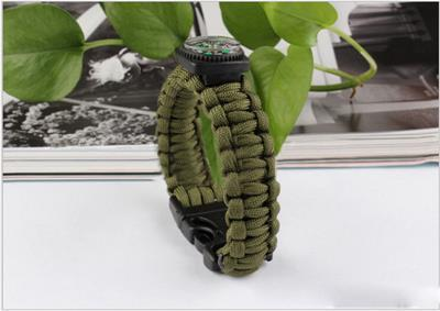 Compass Paracord Parachute Cord Plastic Buckle Bracelets Survival Whistle Buckle Army Green