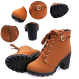 New Autumn Winter Women Boots - Solid Lace-up European Ladies shoes PU Leather - Free Shipping