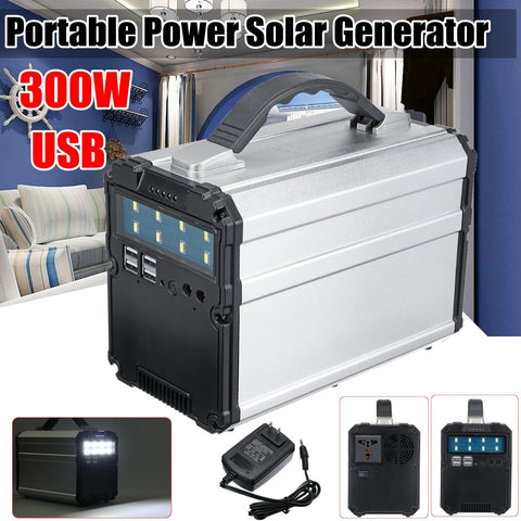 Portable solar generator 600W Peak 300W Continuous 300WH 12V 15A Inverter Power Storage Fast USB Charger (As Seen on YouTube)