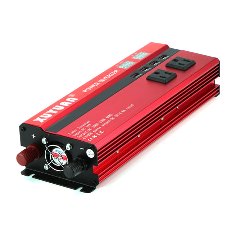 Solar Car Power Inverter LED 2000W Rated / 5000W Peak Power DC12/24V to AC110/220V Converter 4 USB Interfaces (As Seen on YouTube)