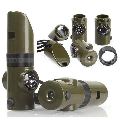 7 In1 Multifunctional Survival Whistle Compass Thermometer LED Flashlight Fire Magnifier Camping  Military Survival Kit