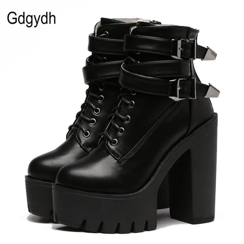 2017 Leather Women Boots: High Heels Platform Buckle Lace Up Short Booties - Black