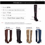 2017 New Sexy Women's Over the Knee Boots - Thin Square Heel Boot Platform Woman Shoes Black size 34-43