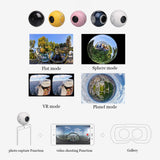 SAGO mini 360 video camera VR Panoramic Camera portable pocket Camera Dual Lens for Type-c/Micro usb phones PK insta 360 air