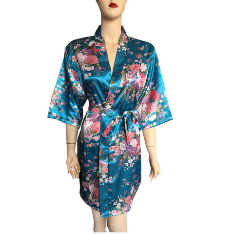Silk Satin Robe Floral Bathrobe - Short Kimono / Night / Bath Robe Dressing Gown For Women