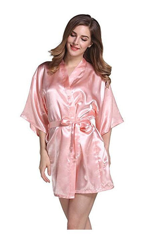 Silk Satin Robe Bathrobe - Short Kimono / Night / Bath Robe Fashion Dressing Gown for Women