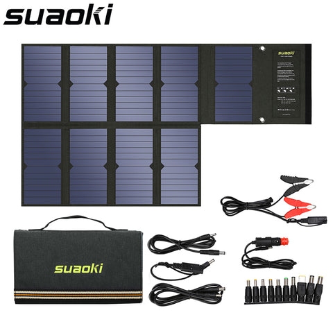 Suaoki 60W Solar Panel 5V USB and 18V DC Output Portable Foldable Power Bank Solar Charger for Smartphone Laptop (As Seen on YouTube)
