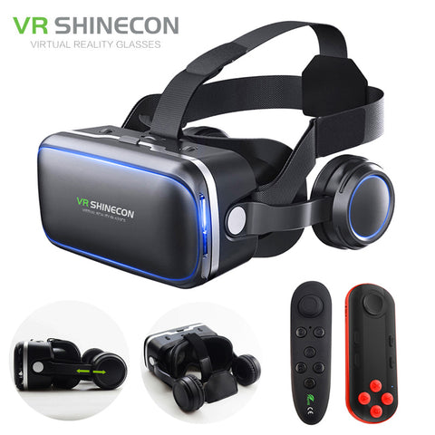 Shinecon 6.0 VR Pro Headset - Virtual Reality for Smartphones - 3D Glasses Mobile Google BOX + Headphone for 4-6' Phone