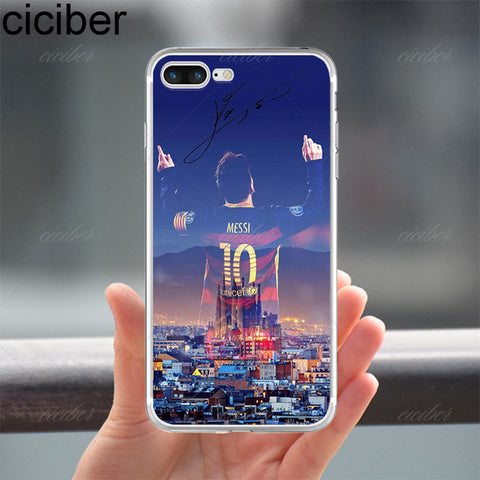 Barcelona 2017 Messi Neymar Ronaldo Transparent Clear soft silicon TPU case cover For iphone 7, 7 plus, 5S, SE, 6, 6S