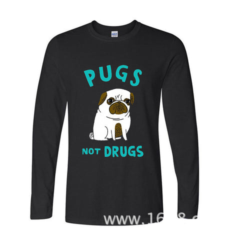 Pugs Not Drugs Funny Long Sleeve T Shirt For Dog Lovers