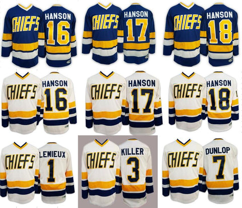 Ice Hockey Jersey Hanson Brothers Slap Shot Chiefs Charlestown Hockey Jersey 1# 3# 7# 16# 17# 18# Retro Hockey Jerseys USA Size