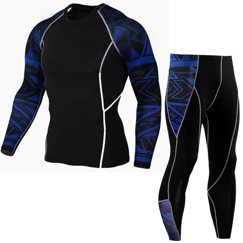Men's Sports Running Set - Compression Shirt + Pants Skin - Tight Long Sleeves Quick Dry (Fitness Training, Clothes Gym, MMA, Suits)