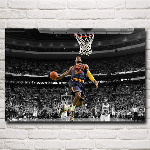 Basketball Star Lebron James Art Silk Fabric Poster Print Wall Decor 12x18 16X24 20x30 24x36 inch
