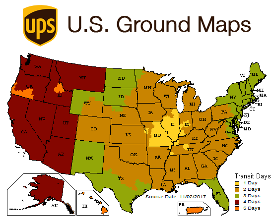 Contrail Shipping Contrail Bags - Ups shipping time map