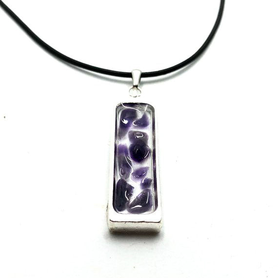 Amethyst Silver Slate Necklace