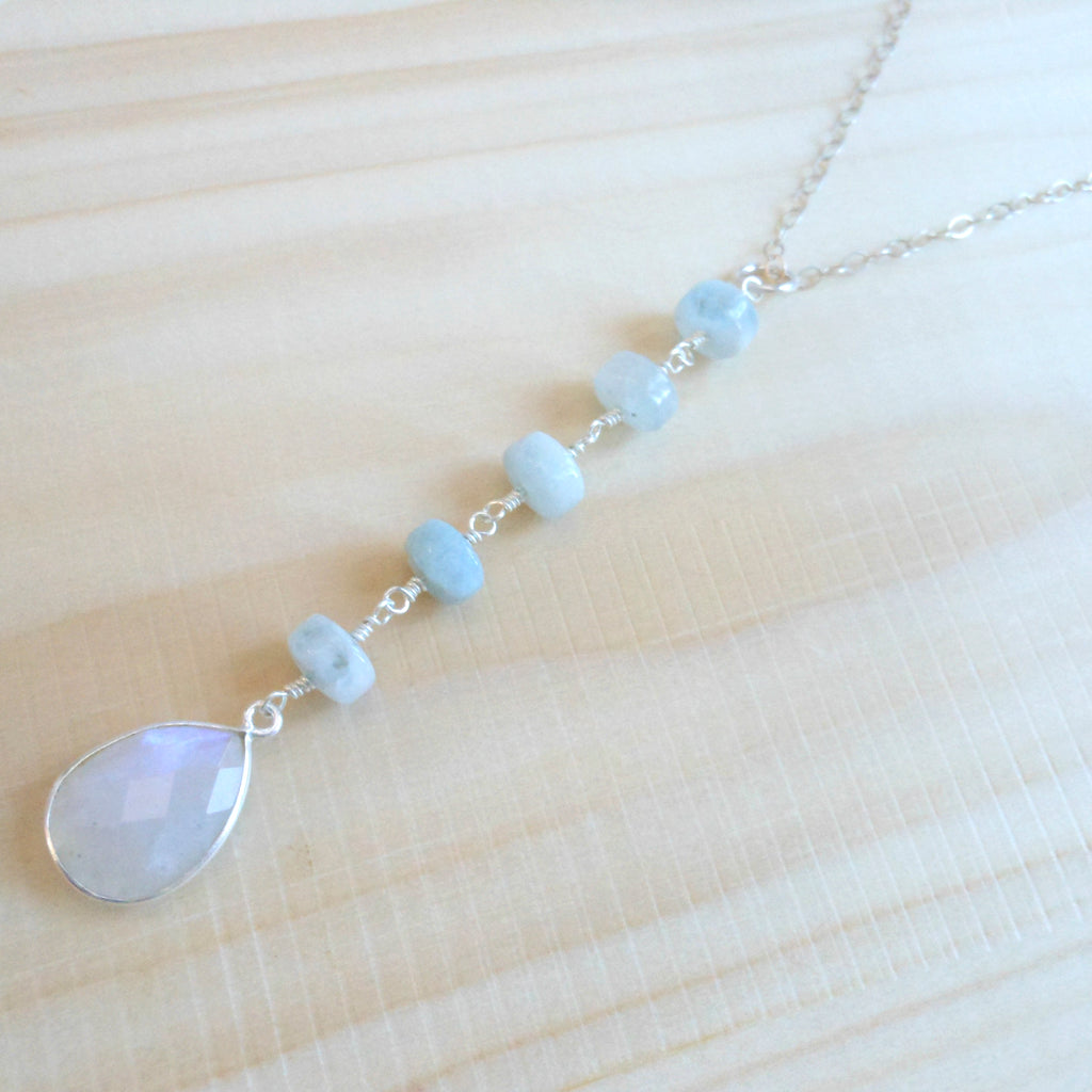 Aquamarine and Moonstone Y Drop Necklace