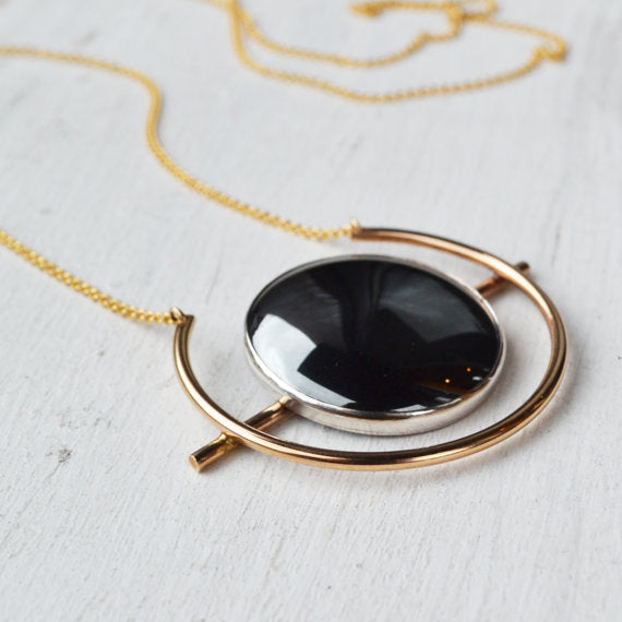 Atomic Hematite Disk Gold-filled; Powerful Grounding