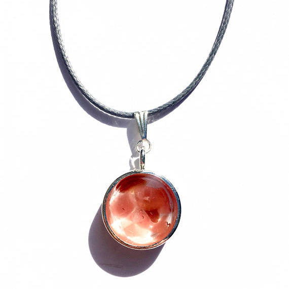 Carnelian Silver Disk Necklace