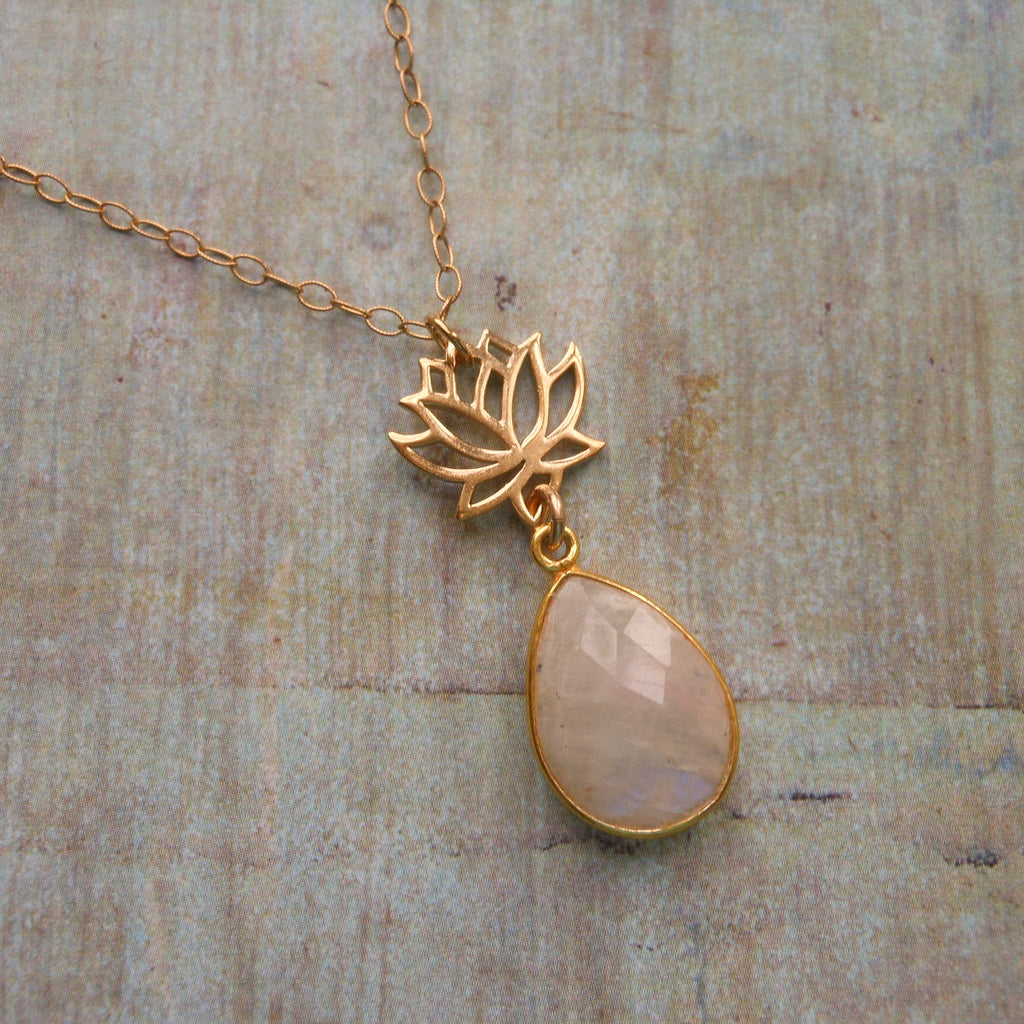 Gold Lotus Flower Necklace With Moonstone Divine Avenue