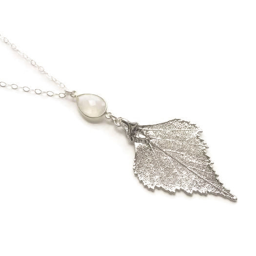 Real Birch Leaf with Moonstone Necklace
