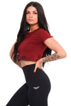 Burgundy Gym Crop Top Active wear Gym Wear