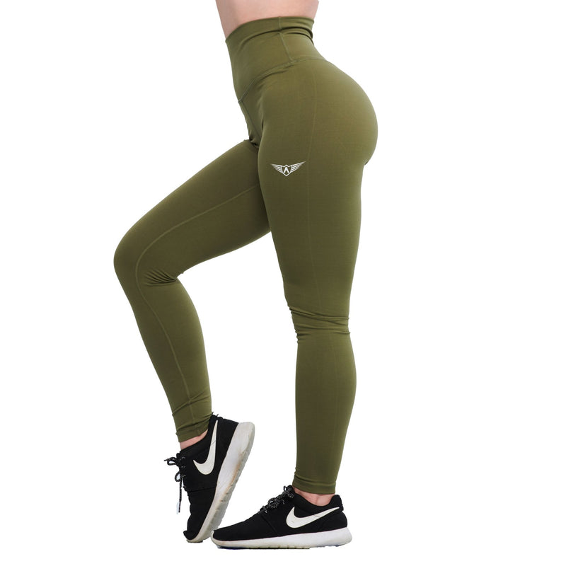 OLIVE GREEN FEATHER HIGH WAIST LEGGINGS - womens activewear
