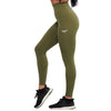 OLIVE GREEN FEATHER HIGH WAIST LEGGINGS - womens yoga pants