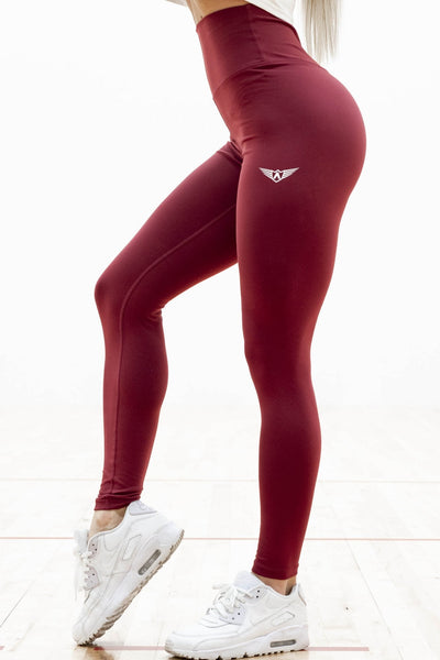 MAROON FEATHER HIGH WAIST COMPRESSION LEGGINGS - womens workout gear