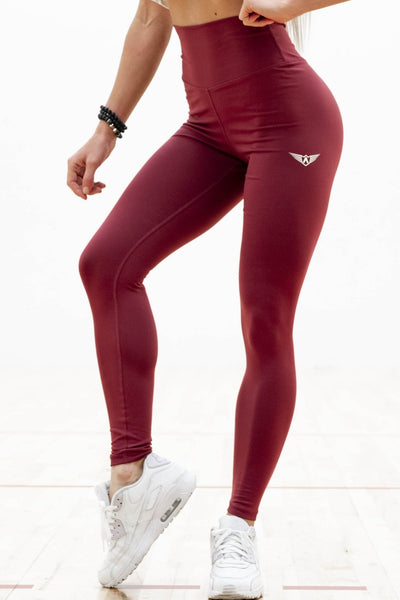MAROON FEATHER HIGH WAIST COMPRESSION LEGGINGS - womens workout leggings