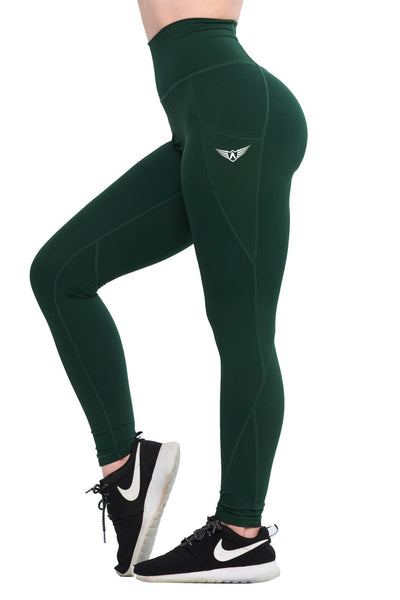 FOREST GREEN COMPRESSION LEGGINGS WITH POCKETS - womens active leggings