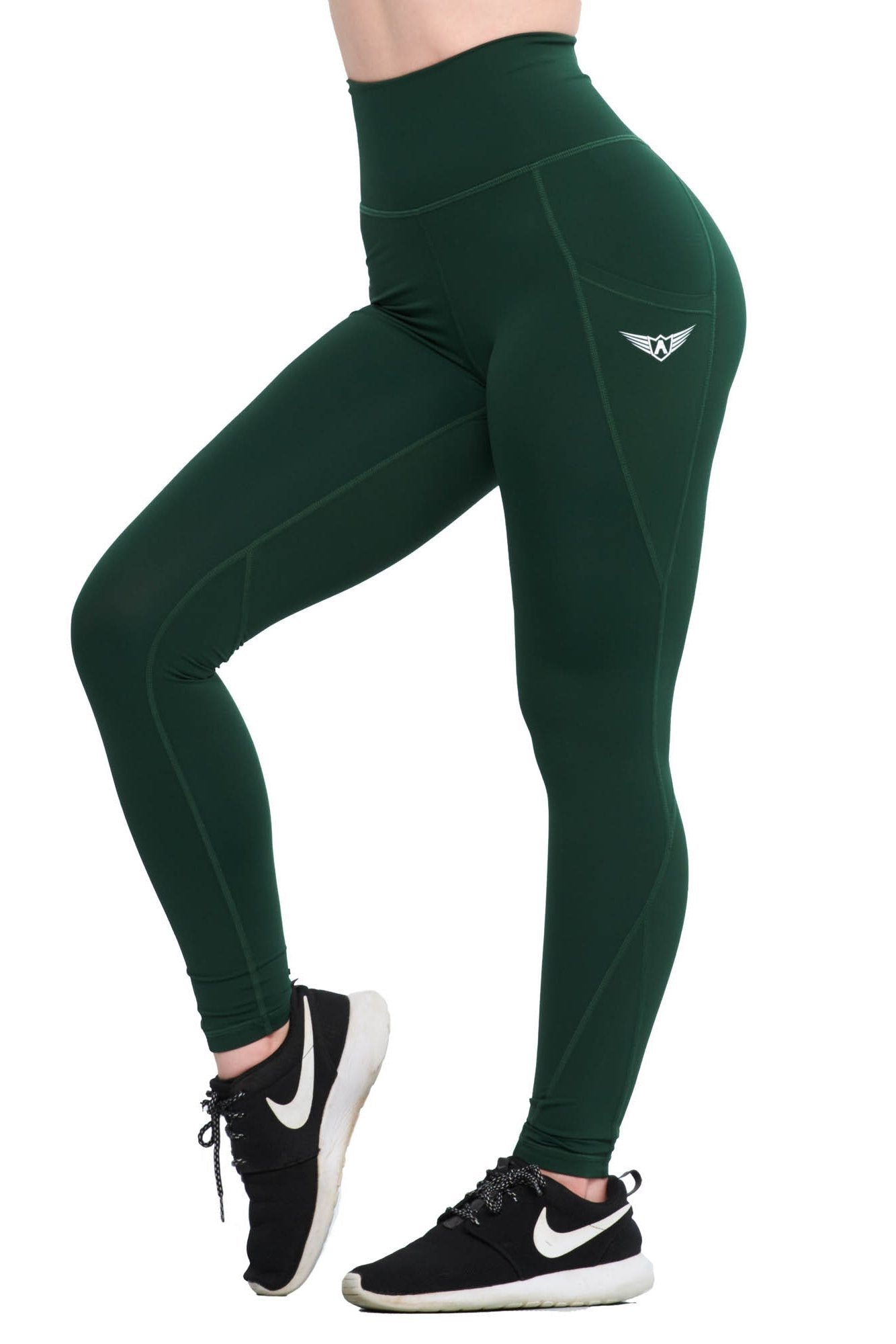 fb5e567b129b0 FOREST GREEN COMPRESSION LEGGINGS WITH POCKETS - womens activewear leggings