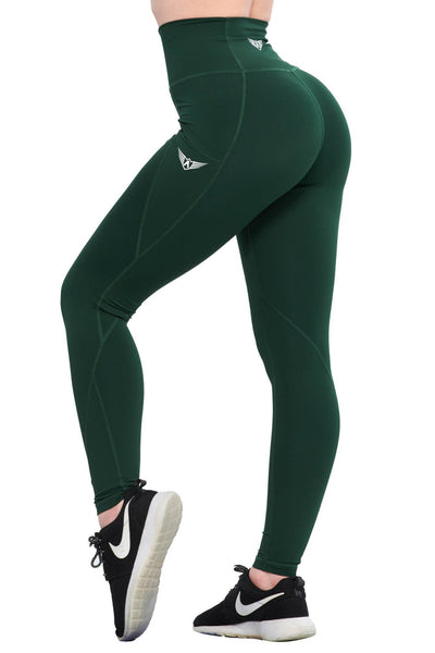 FOREST GREEN COMPRESSION LEGGINGS WITH POCKETS - womens workout clothes