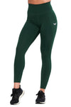 FOREST GREEN COMPRESSION LEGGINGS WITH POCKETS - womens workout leggings